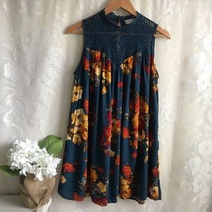 Altar'd State Blue High Neck Floral Dress Tunic S